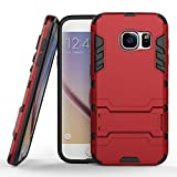 COOVY® Funda para Samsung Galaxy S7 Edge SM-G935F SM-G935 de plástico y Silicona TPU, extrafuerte, con protección contra Golpes, Funda con función Atril | Rojo