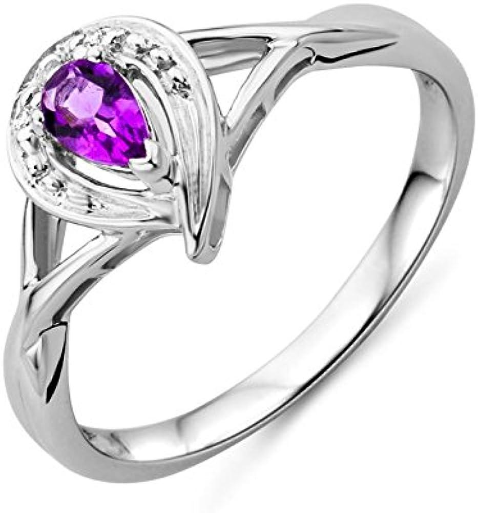 Miore, anello, per donna, oro bianco 9 carati (375)(1,87 gr),con pietra ametista e diamanti MT003ARR