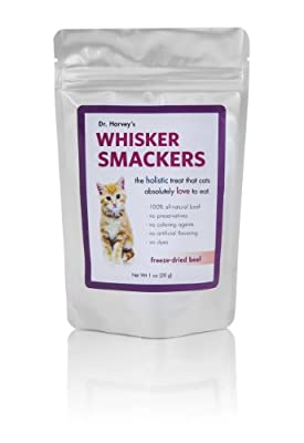 Dr. Harvey'S Whisker Smackers Freeze Dried Single Ingredient Treats For Cats, Beef, 1-Ounce Bag