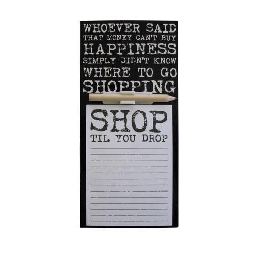CE Home Bloc-notes magnétique avec crayon et inscription « Shop til you drop »