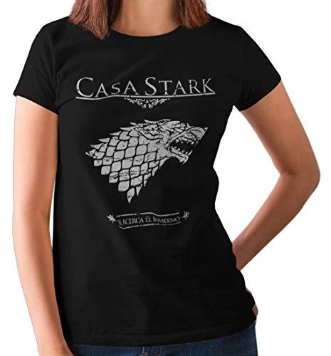 Camisetas La Colmena, 162-Mujer Juego De Tronos Casa Stark (S, Negro.)