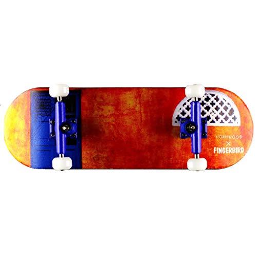 NOAHWOOD X Fingerbird Wooden Fingerboards Toys (Kickflip Deck,Trucks,Wheels a Set) (Yellow House, 100x33mm)