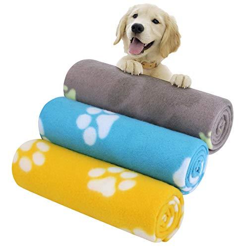 KYC 3 Stück Trixie Fleecedecke Beany Welpen Decke Kissen Hund Katze Fleece Decken Haustier schlafen Matte Pad Bett Decken mit Paw Print Kätzchen weiche warme Decke für Tiere 70 X 100cm