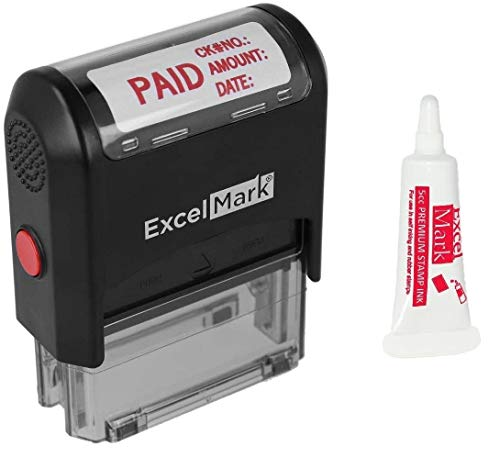 ExcelMark Paid Self Inking Rubber Stamp  Red Ink with 5cc Refill Ink A1848