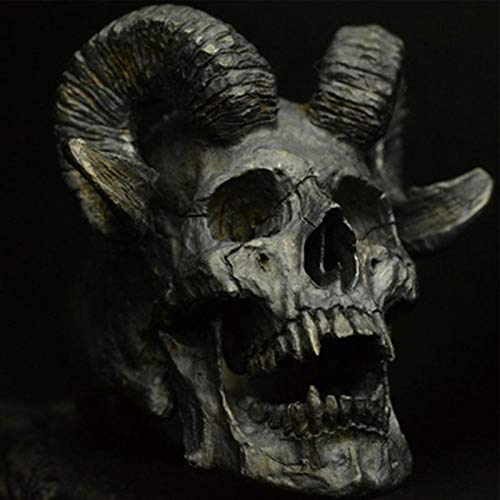 Feeyond Vintage Gothic Punk Stainless Steel Ring Demon Satan Goat Skull Ring Men's Motorcycle Ring Jewelry Accessories,9