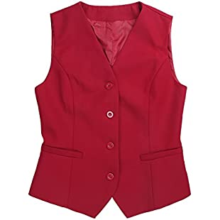 iiniim Fashion Women V-Neck Sleeveless Fully Lined Slim Fit Economy Dressy Suit Vest Waistcoat Red Medium