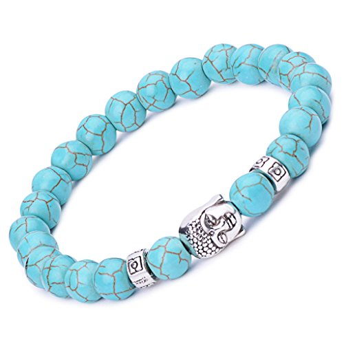 Unendlich U Unisex Buddha Armband, Zen-Buddhismus Legierung Armreif, EnergieStein Kugeln Perlen Gebet Mala Stretch Energiearmband, Blau