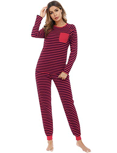 Aibrou Conjunto Familiar de Pijamas de Navidad Camiseta de Manga Larga + Pantalones Largos Ropa de Dormir a Rayas Suave para Mujer, (Vino Tinto L)