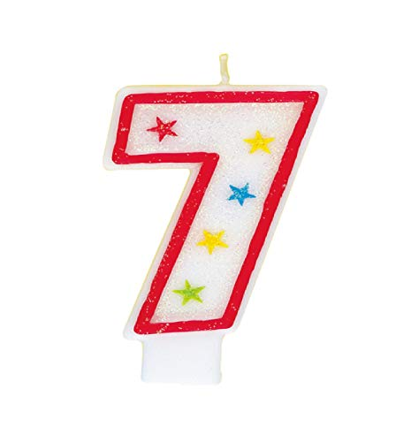 Unique Party - Vela de Cumpleaños Número 7 Reluciente y Decoración de...