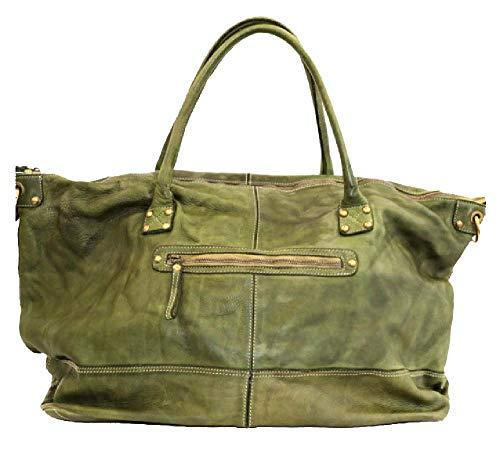 BZNA Bag Joe grün Italy Designer Weekender Damen Reise Tasche Handtasche Schultertasche Leder Shopper Neu