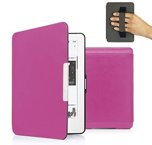 MyGadget PU Leder Hülle für Amazon Kindle Paperwhite (bis 2017) Handschlaufe und Auto Schlaf/Wach Funktion Magnetische Kunstleder Flip Hülle - Pink