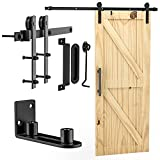 """Signstek 6.6FT Sliding Barn Door Hardware Kit Heavy Duty with Door Hook and 2 Handles - Easy to Install -Smoothly and Quietly - Fit 1 3/8-1 3/4"""" Thickness -Black (I Shape Hanger)"""