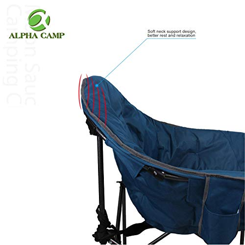 ALPHA CAMP Oversized Camping Chairs Padded Moon Round Chair Saucer Recliner Supports 500 lbs with Folding Cup Holder and Carry Bag