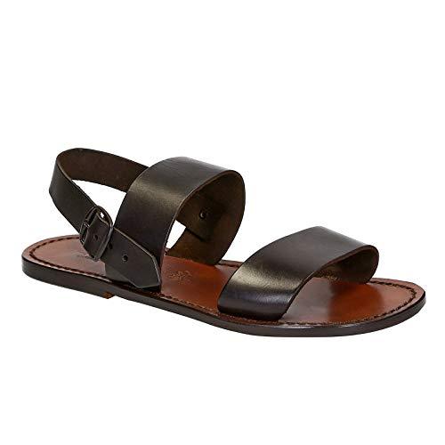 Gianluca - Sandalias Hechas a Mano Mens en Cuero marrón Oscuro Número de Modelo: 500-U-CUOIO - Tamaño: 40 EU