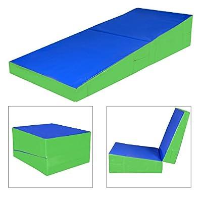 Sportmad Gymnastics Cheese Mat Incline Wedge Mat Folding Tumbling Mat Ramp Mats Foam Skill Shape Slope Large Mat for Training Exercise Fitness Workout Home Gym Aerobics Sports