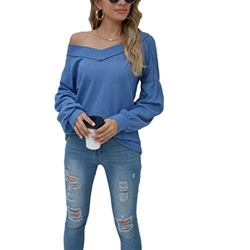 ruirui-home Dames lange mouwen blouse V-hals T-shirt top vrouwen een schouder tops voor vrouwen/trui, off-shoulder tops voor vrouwen, gebreid sweatshirt, losse lange trui - blauw - XL