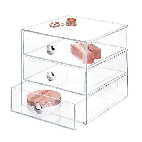 iDesign Make-Up Organizer mit 3 Schubladen, quadratische Schubladenbox aus Kunststoff, kompakter Schubladenturm für Schminke und Kosmetika, durchsichtig