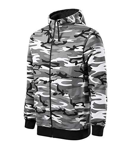 Malfini Camo Zipper Sweatshirt Herren, Pullover für Männer mit Reißverschluss, Sportbekleidung, camouflage grau 2XL