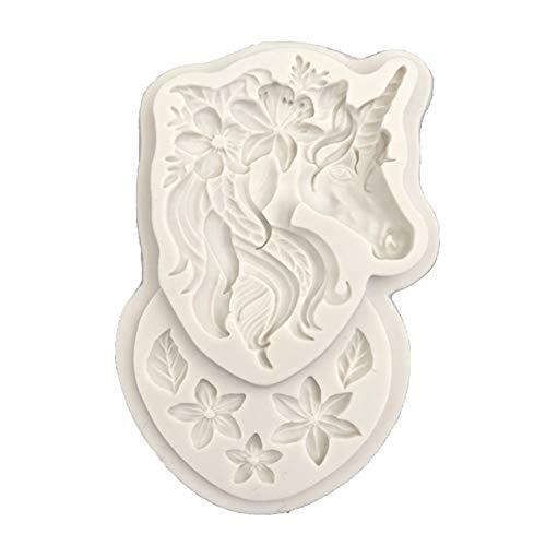 SuYaoJiey - Molde de Silicona con Forma de Unicornio y Flor para decoración de Tartas