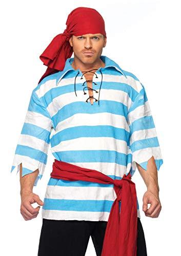 Leg Avenue Men's Pillaging Pirate Costume, Blue/White, X-Large