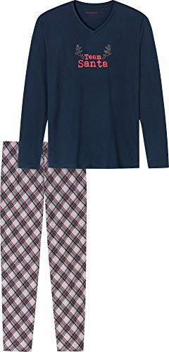 Schiesser Herren Family Anzug Lang Pyjamaset, dunkelblau, 50