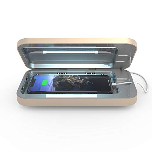 PhoneSoap 3 UV Smartphone Sanitizer & Universal Charger | Patented & Clinically Proven UV Light Disinfector | (Light Gold)
