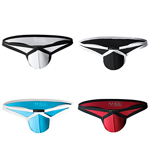 sandbank Men's Sexy Nylon Bulge Pouch Extra Support Thongs G-Strings Underwear (US S = Asian Tag M, 4 Pack-Mix Color #1)