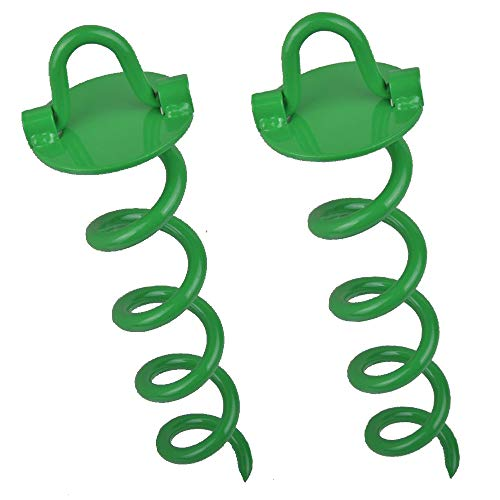 IUMÉ 10 Inch Spiral Ground Anchor with Folding Ring, Dog Leash Anchor, Stakes Heavy Duty, Tent, Garden, Playground Equipment, with Knob Lever for Easy Installation Green 2Pack