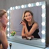 WONSTART Grande Espejo de tocador, Espejo Hollywood con Luces. 15 Luces LED de pie o Montaje en Pared. Iluminación de 3 Colores (70 * 55.2 cm) (Plata)