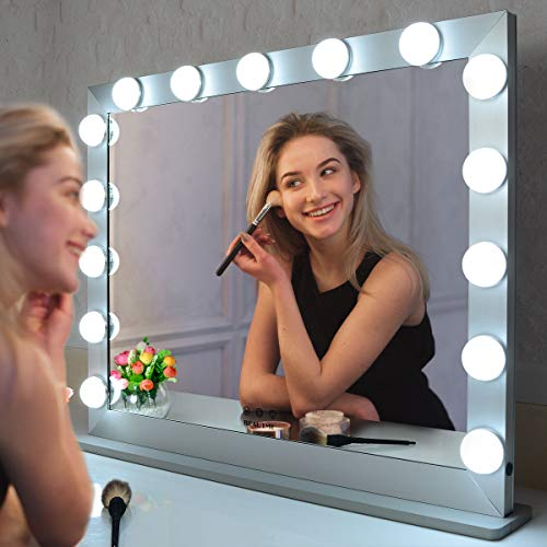 Espejo Tocador Maquillaje con Luz Espejo Maquillaje con Luz LED 15 Bombillas Espejo Luz Tocador Espejo Grande con 3 Modos de Color Luz Ajustable Táctil Inteligente Espejo (Negro 70*55.2cm)