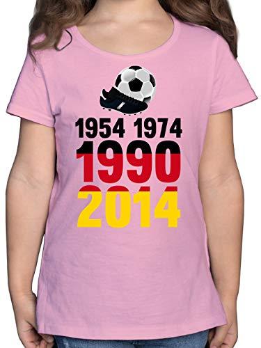 Fussball WM 2022 Fanartikel Kinder - 1954, 1974, 1990, 2014 - WM 2018 Weltmeister Deutschland - 152 (12/13 Jahre) - Rosa - WM - F131K - Mädchen Kinder T-Shirt
