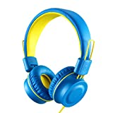 Kids Headphones-Noot Products K33 Foldable Stereo Tangle-Free 5ft Long Cord 3.5mm Jack Plug in Wired On-Ear Headset for iPad/Amazon Kindle,Fire/Boys/Girls/School/Travel/Plane/Tablet (Electric Blue)