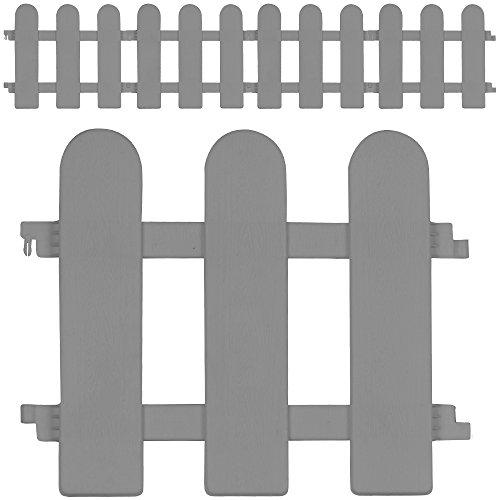 Deuba Rasenkante Beeteinfassung 1,12m grau Traditioneller Zaun Design 4er Set Beetumrandung Mähkante Randsteine