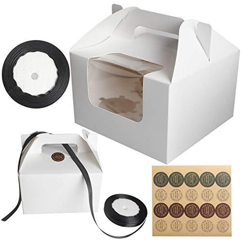 Tomedeks 12 Piezas Cajas de Papel para Tartas de Papel Natural, con 1 Etiqueta Adhesiva y 1 Rollo de Cinta Negra para Galletas Cajas para Tartas