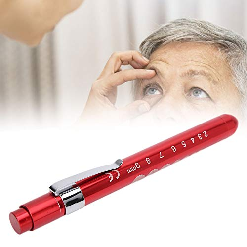 TMISHION Luz de la Pluma, luz de la Pluma del Control de la pupila de la lámpara de diagnóstico Profesional de la Linterna médica Reutilizable(Rojo)