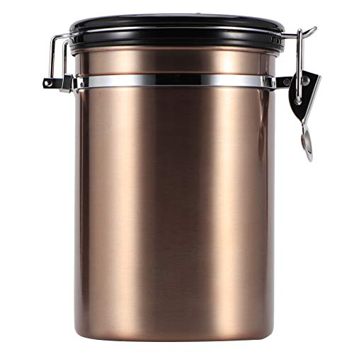 Olla sellada Baverta - Olla de almacenamiento sellada Tanque sellado de acero inoxidable Olla de almacenamiento de té en grano de café a prueba de humedad con válvula de evacuación de aire(#1)