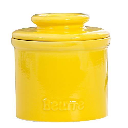 BRT Ceramic French Butter Crock Butter Keeper Butter Storage Jar Butter Dish (Yellow)