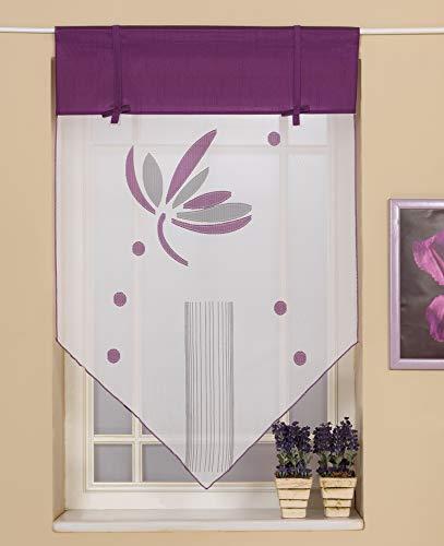 Startex 09 90 Scheibengardine, Fensterspitze 2146 90 x 90 cm Weiß Lila hochwertiger Deko mit modernen Scherli Voile