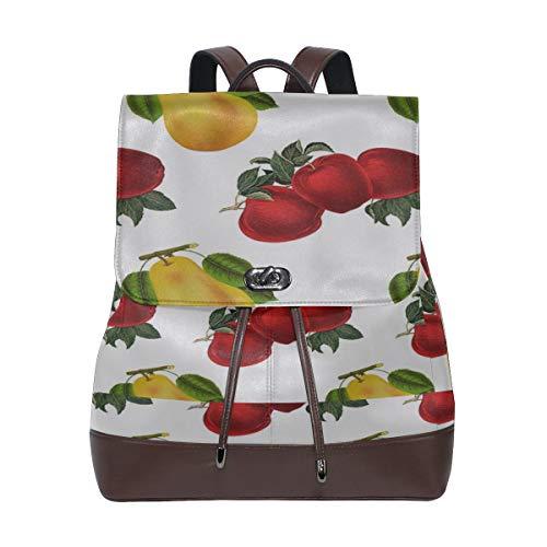 JINCAII Fruit Vintage Apple Pear Design Mochila universitaria Cuero Cuero Mochila para mujer Cordón Impermeable Mochila de viaje de cuero Mochila de cuero Mochila