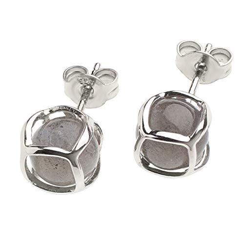Pendientes para mujer de plata de ley 925 rodiada con bolas de labradorita