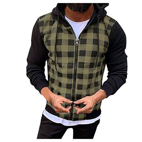 AmyGline Herren Hoodie Jacke Kapuzenpullover Karierte Patchwork Zip Sweatshirt Langarm Shirt Mantel Herbst Winter