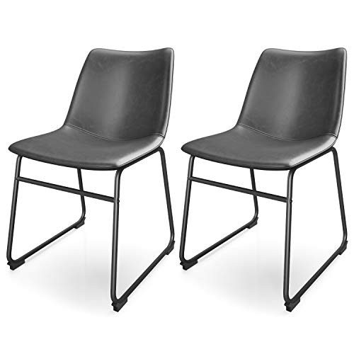 VIPEK 18' Mid Century Modern Style Chair Leather Dining Chairs Pack of 2 for Indoor Kitchen Table Patio Bistro Farmhouse Restaurant, Armless Zigzag Stitching Grey PU Faux Leather Seat Metal Legs