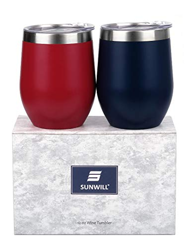 SUNWILL Insulated Wine Tumbler with Lid (Wine Red & Navy Blue 2 pack), Stemless Stainless Steel Insulated Wine Glass 12oz, Double Wall Durable Coffee Mug, for Champaign, Cocktail, Beer, Office use