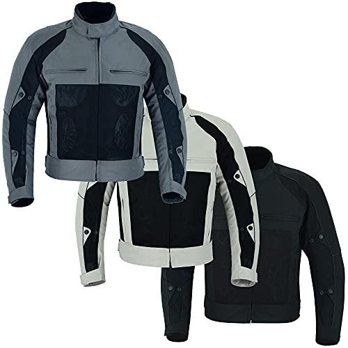Warrior Gears® Air Mesh - Giacche da moto da uomo, in tessuto traspirante, con fodera rimovibile e protezioni CE, impermeabili, da uomo, colore: grigio e nero, 9 x L