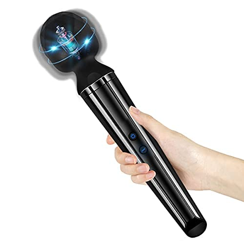 Personal Quiet Wand Massager Cordless Handheld Massager with Powerful Head 10 Magic Vibrations, HOLYVO Rechargeable Back Massager Lightweight Therapeutic Massager Wand for Muscle Relief
