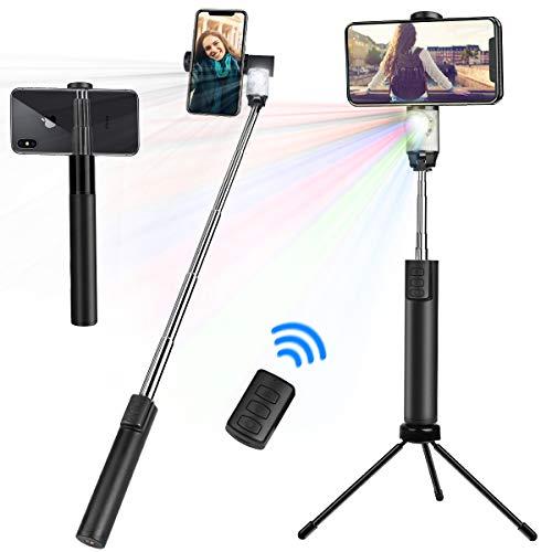 Haisito Selfie Stick Bluetooth, Luci del palcoscenico, Treppiede, Luce di riempimento, 4 in 1, Telecomando Compatibile per iPhone XR/XS Max/X / 8 / 8Plus / 7 / 7Plus / 6Plus / 6
