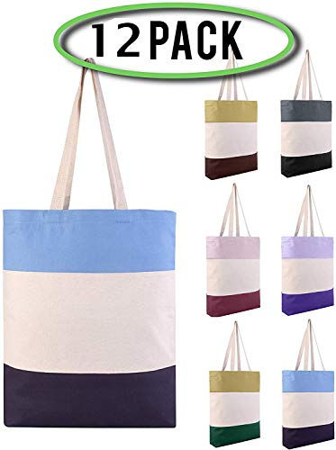 Pack of 12 - Reusable Fancy Durable Tri-Color Canvas Blank Shopping Tote Bags - 12oz. Fabric Sturdy Canvas Plain Tote Bags in Bulk - 15'W x 15'H x 3'D Bottom Gusset (Mix-Assorted)