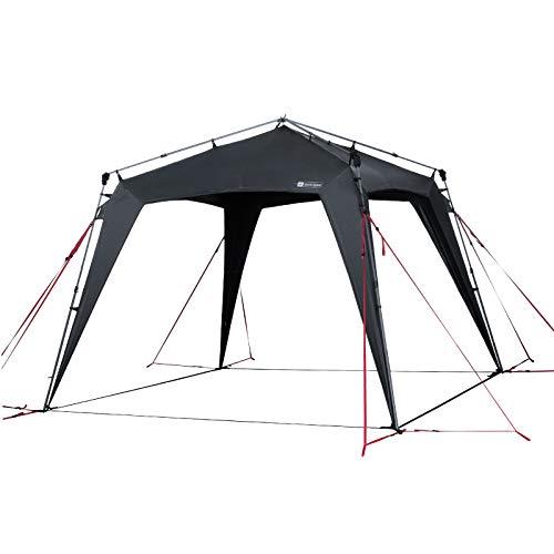 Qeedo Quick Space Camping Pabellon (3x3m) con protección UV (UV80) y Dark-Coating - resistente al viento, rápida de montar, 8 personas - gris