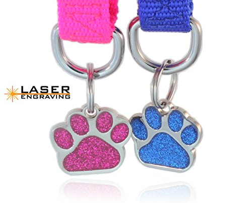 io tags Pet ID Tags, Personalized Dog Tags and Cat Tags, Custom Engraved, Easy to Read, Cute Glitter Paw Pet Tag