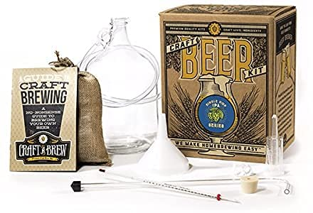 Craft A Brew Home Brewing Single Hop IPA Reusable Make Your Own Beer Kit – Starter Set 1 Gallon, 1 gal, Clear
